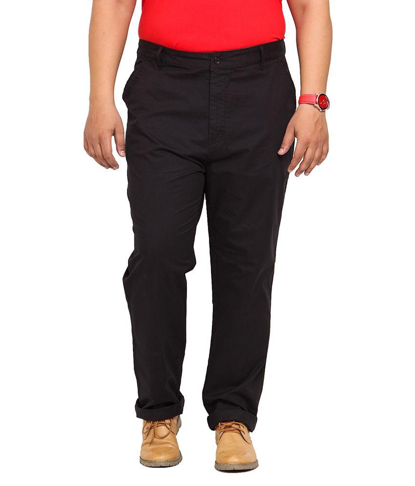 John Pride Black Regular Fit Casual Flat Stretch Trouser