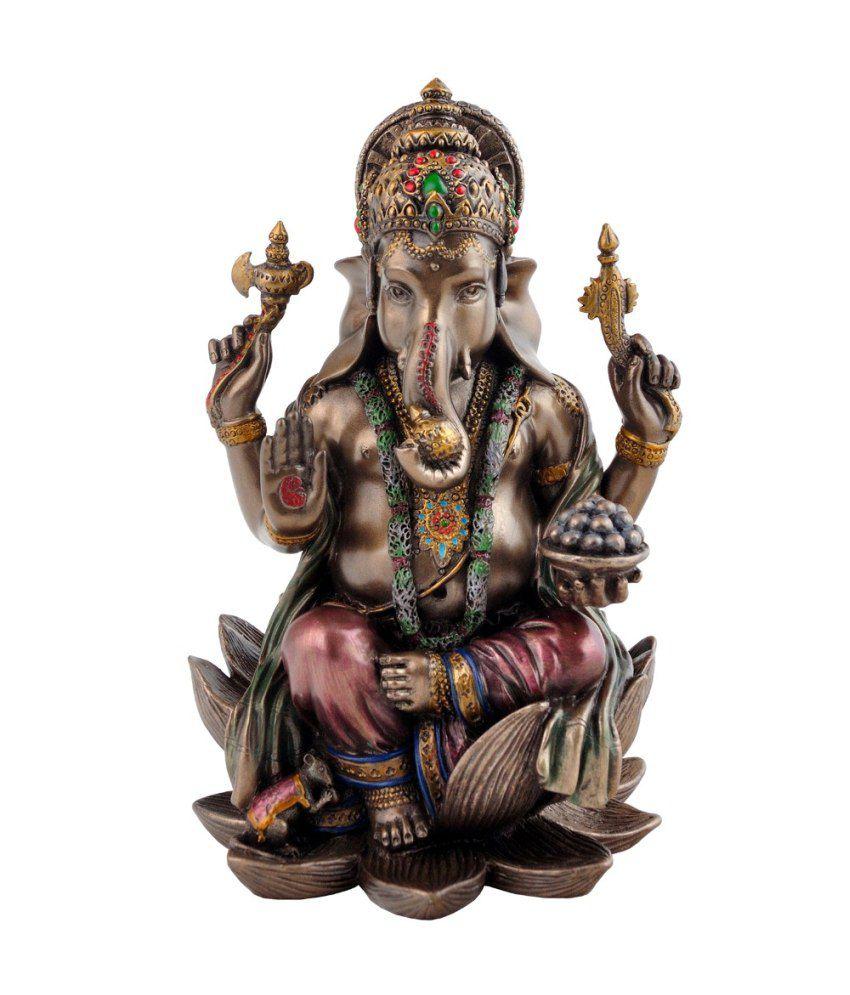 Craftghar Glossy Zinc Alloy Ganesha Idol