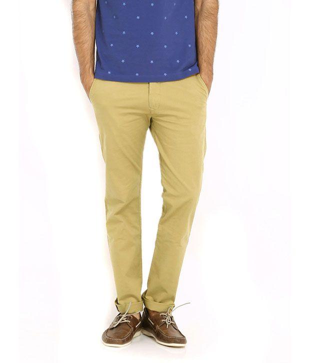 Half Deal Khaki Regular Fit Casual Trousers - Set of 2