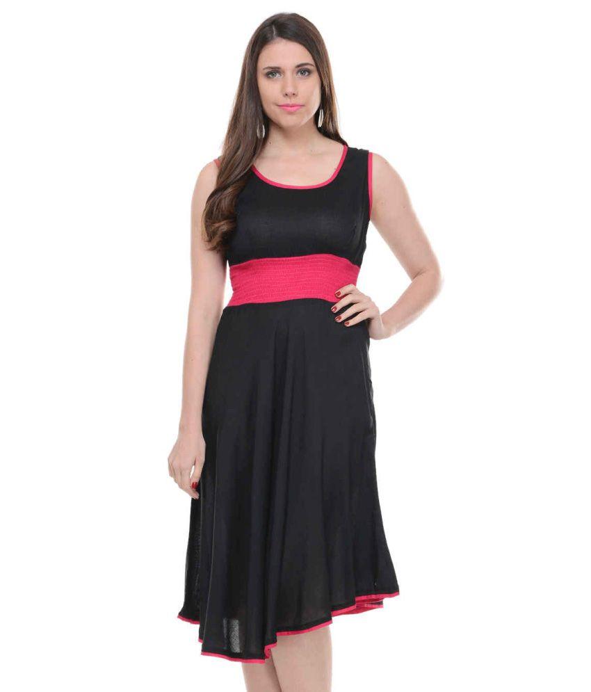 Lingra Black Rayon Dresses
