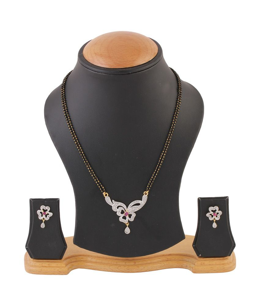 Youbella Silver Alloy Mangalsutra Set With Chain