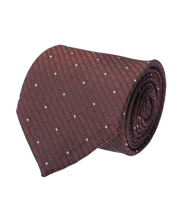 Coolife Brown Micro Fiber Geometrical Necktie For Men