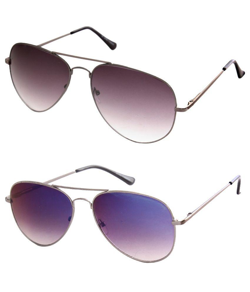 Just Colour Multicolor Aviator Sunglasses - Combo