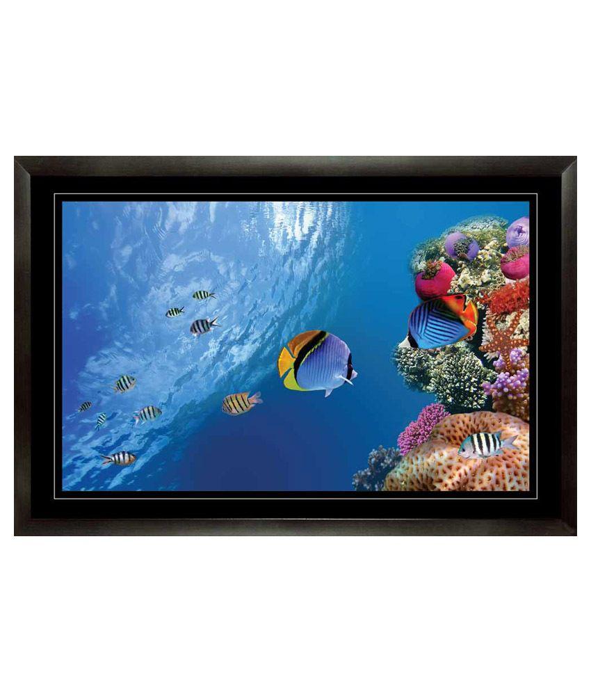 Mataye Graphics Fish in Ocean Aquarium Paintings with Frame