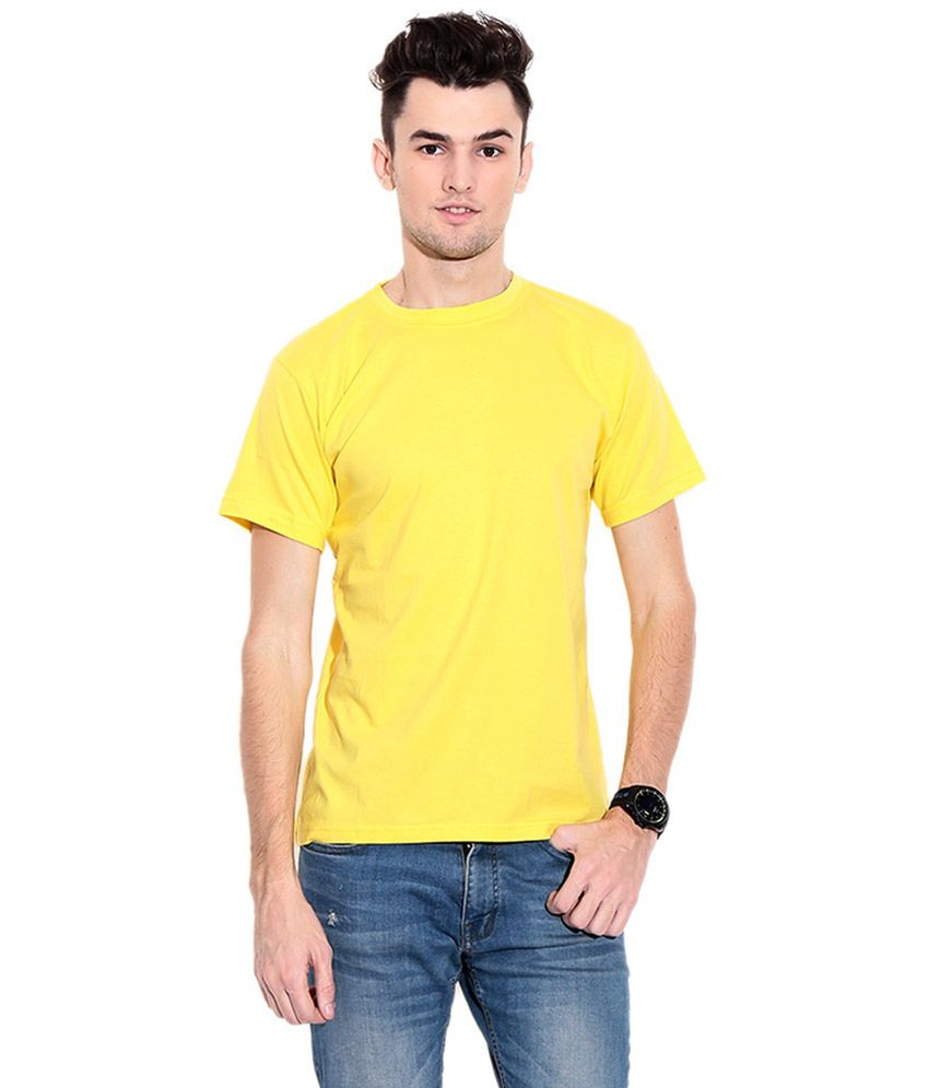 Parshwanath Clothing Company Yellow Cotton Round Neck T-shirt