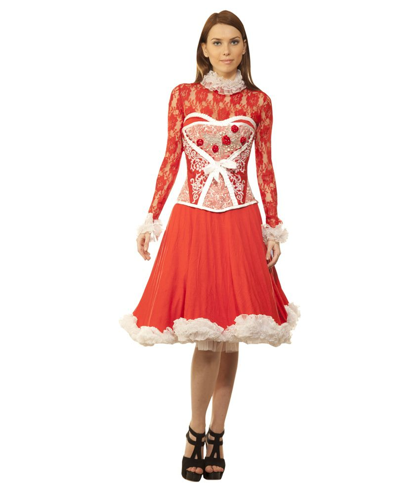 Viona Corset Red Polyester Dresses