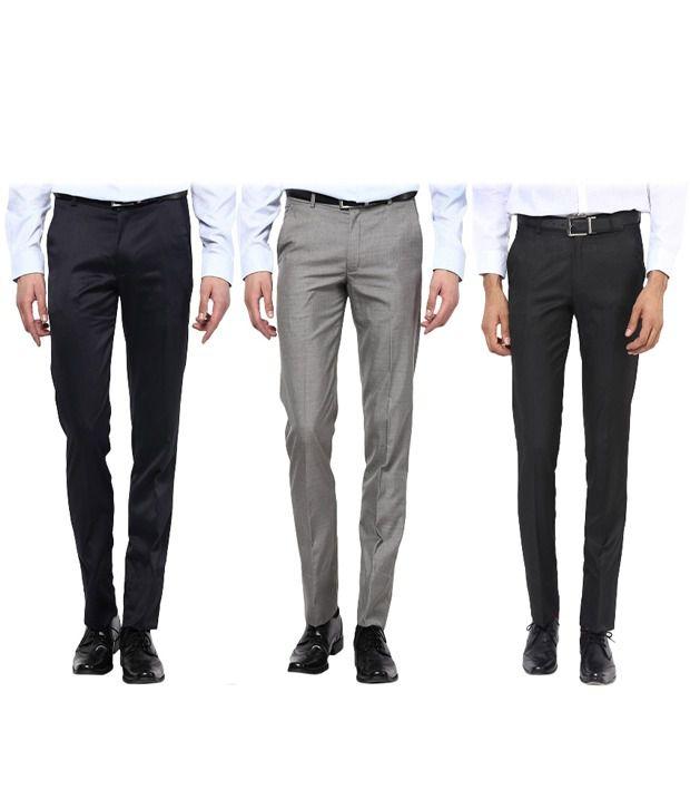 Bukkl Multicolour Slim Fit - Combo of 3 Flat Style Trouser