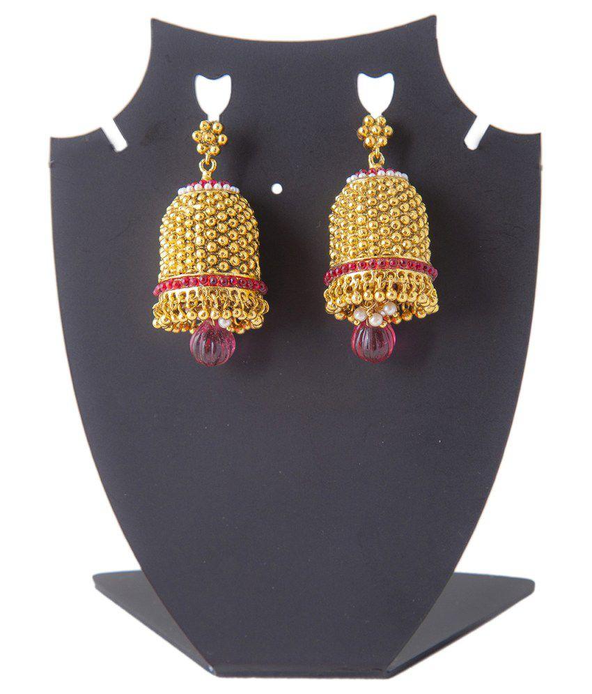 Mokanc Antique Gold Finish Big Bell Bridal Jhumkis