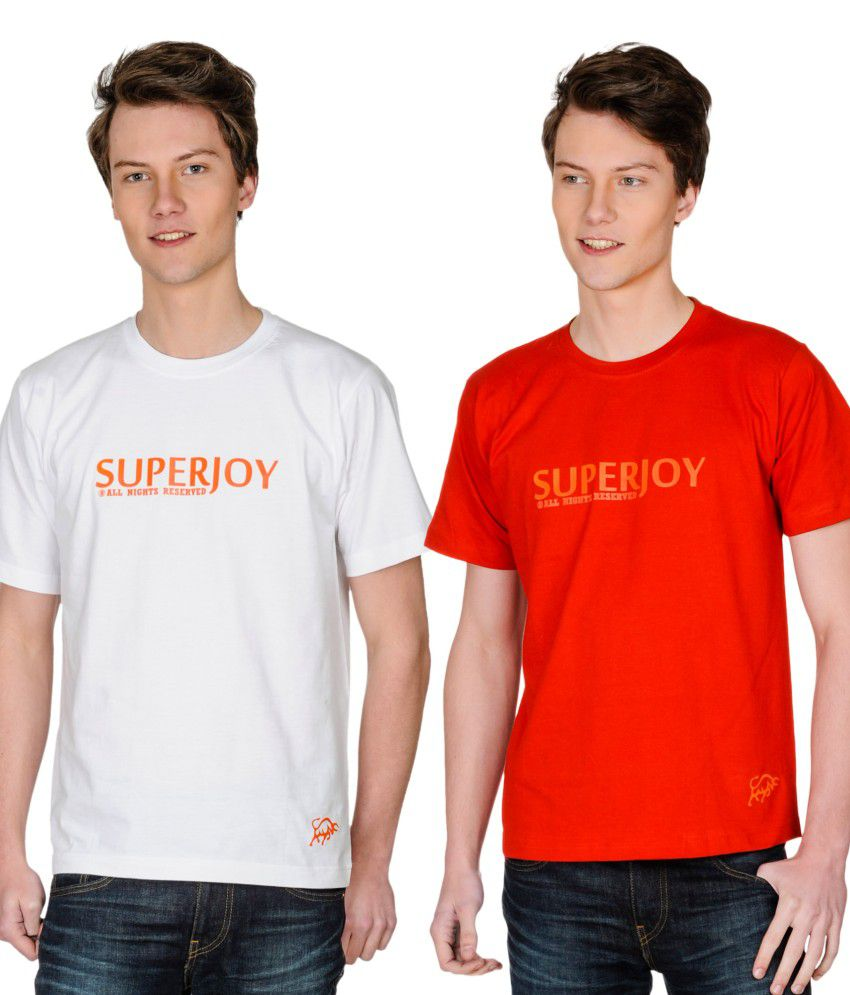 Superjoy Red Polyester T-shirt - Set Of 2