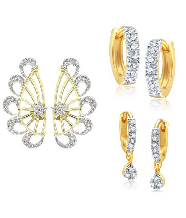 Youbella Gold Style Diva Daily Wear Earrings and Earcuff - Pack Of 3