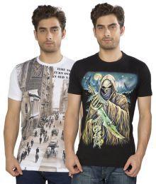 Kkoir Black & White Cotton T Shirts Combo (pack Of 2)