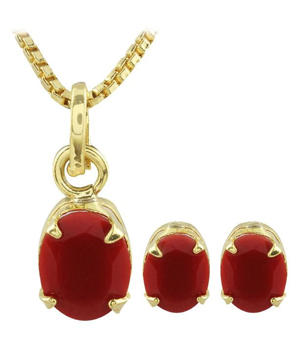 Archi Collection Designer Gold Plated CZ Pendent Set with C...