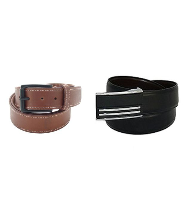 SFA Brown and Black Leather Belt for Men
