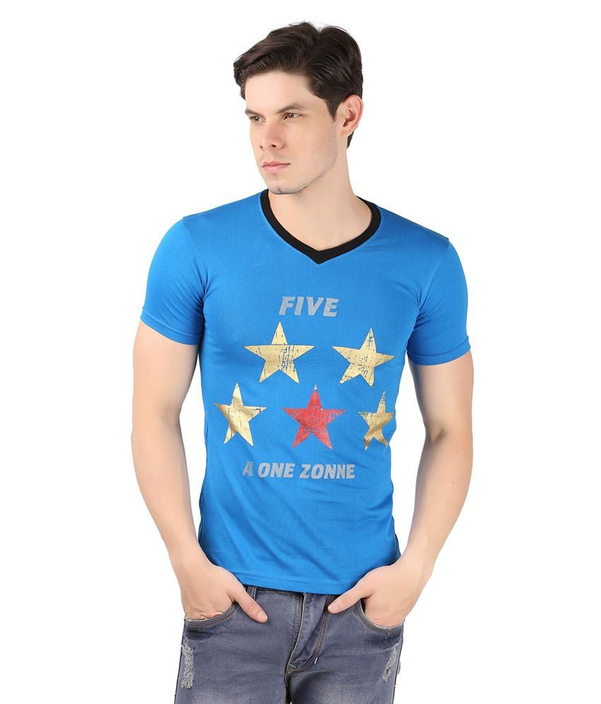A1 Tees Blue Cotton Tshirt
