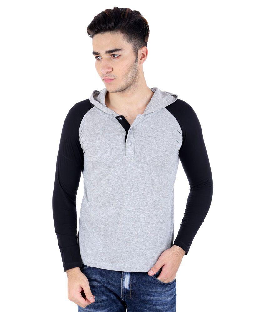 Big Idea Grey and Black Cotton Blend Hooded T-Shirt