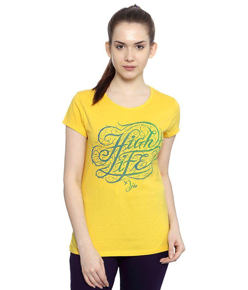 Ajile by Pantaloons Yellow Active Wear T Shirt