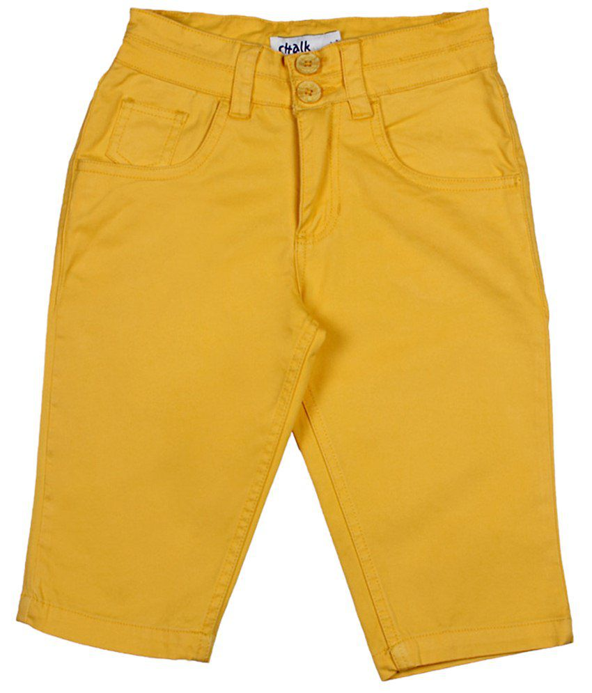 Chalk by Pantaloons Yellow Casual Solid Regular Fit Capris Girls