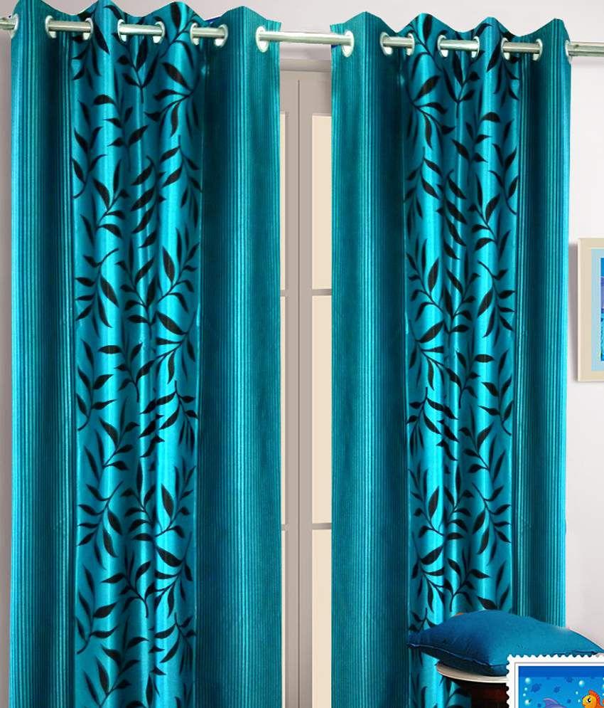 Homefab India Set of 2 Window Eyelet Curtains Floral Blue