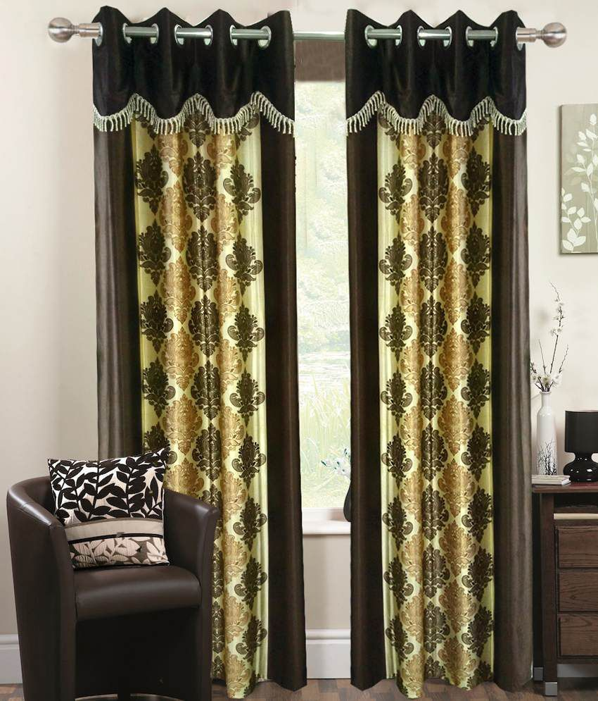 Homefab India Set of 2 Window Eyelet Curtains Ethnic Yellow&Brown