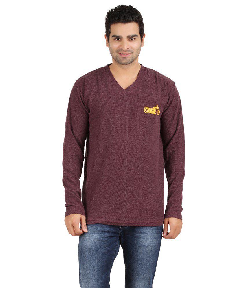 Humtees Maroon Cotton T Shirt