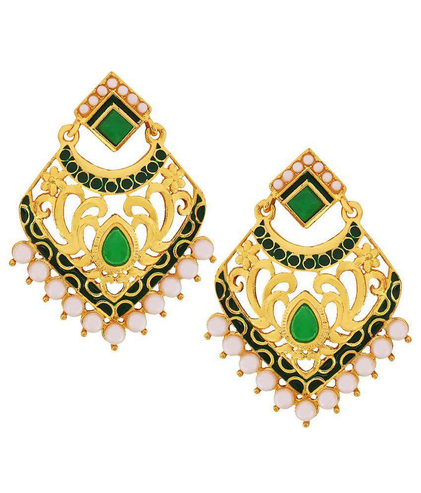 Maayra Green Copper Wedding & Engagement Drop Earrings