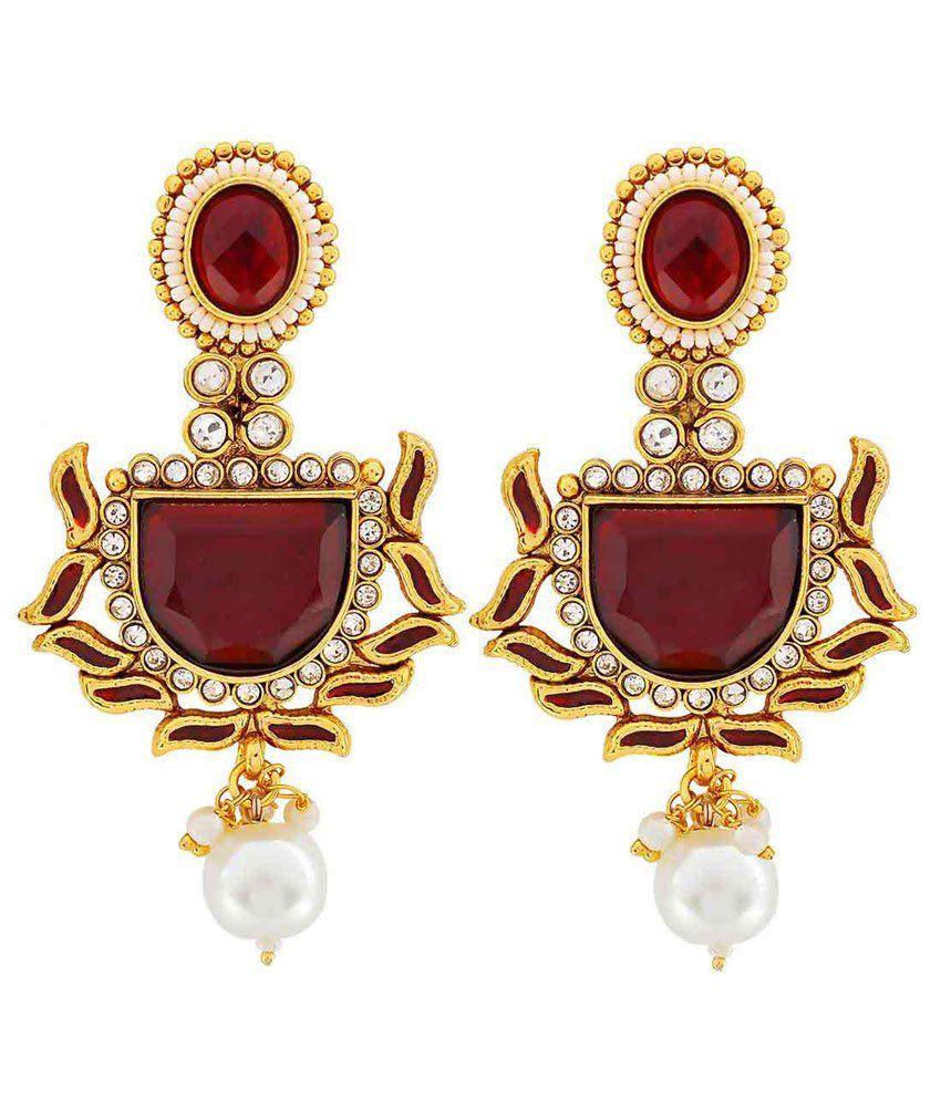Maayra Purple Copper Wedding & Engagement Drop Earrings