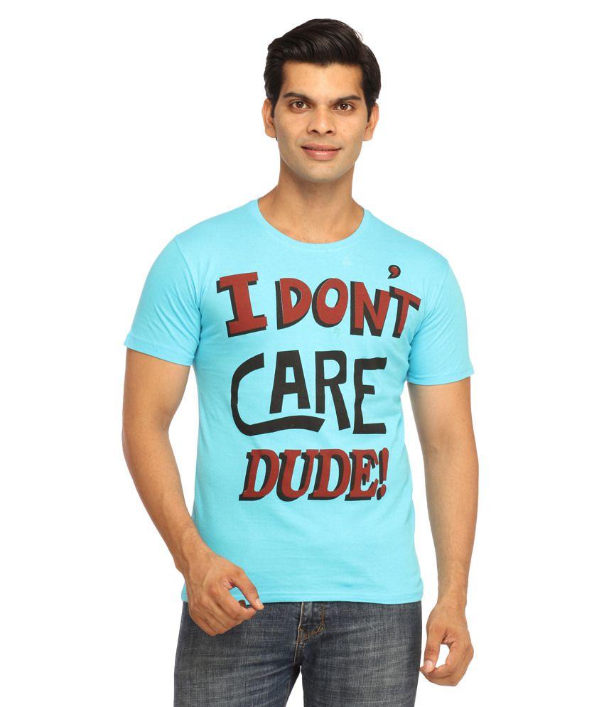 Rock Hard Blue Cotton T-shirt
