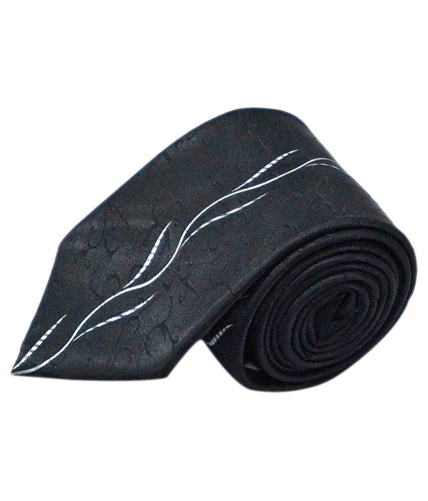 Ali Darzi Black Silk Printed Regular Tie