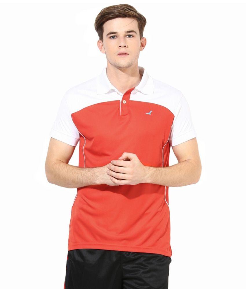 American Crew Orange Polyester T-shirt
