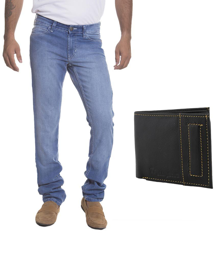 Combo Of Flying Machine Light Blue Jeans And Elligator Wallet