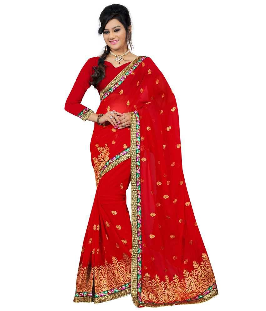 Fashiondeal Red Faux Chiffon Saree