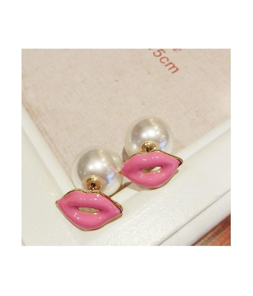 Cinderella Fashion Jewelry  Pink & White Stud Earrings