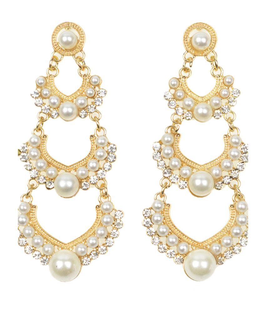 Cinderella Fashion Jewelry  White & Golden Chandelier Earrings