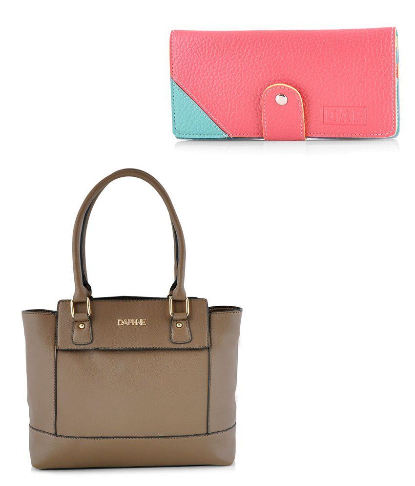 Daphne Women Khaki Handbag and Red Wallet Combo
