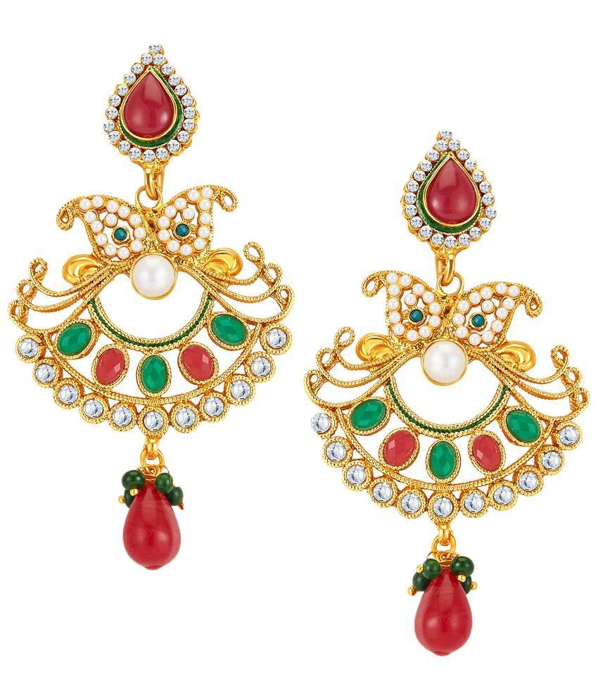 Sukkhi Gold Plated CZ Drop Earrings