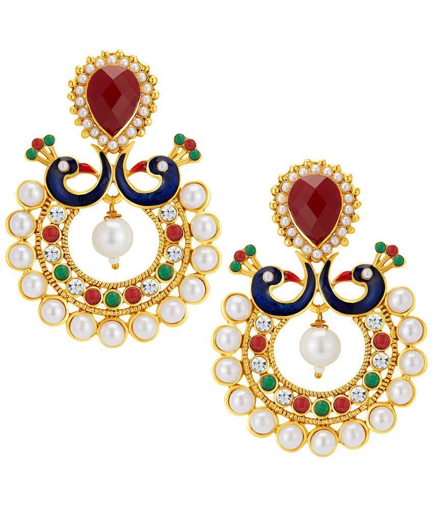 Sukkhi Gold Plated Peacock Australian Diamond Hanging Earrings