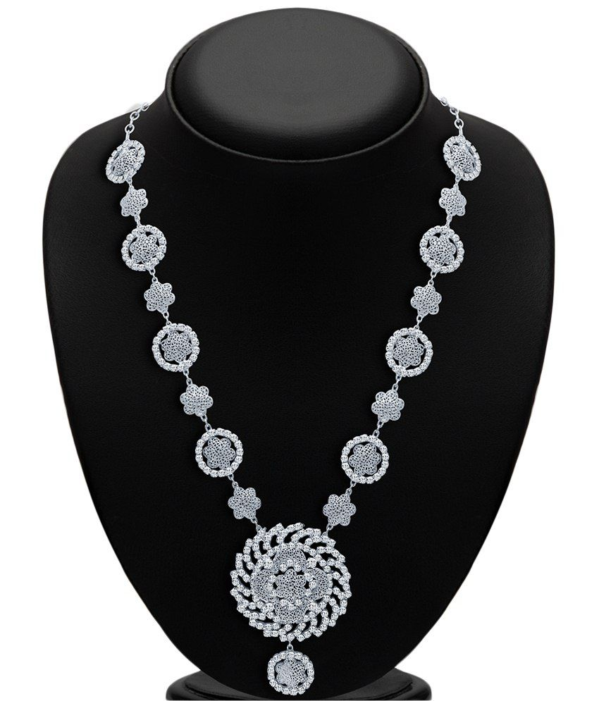Sukkhi Rhodium Plated AD Necklace Set