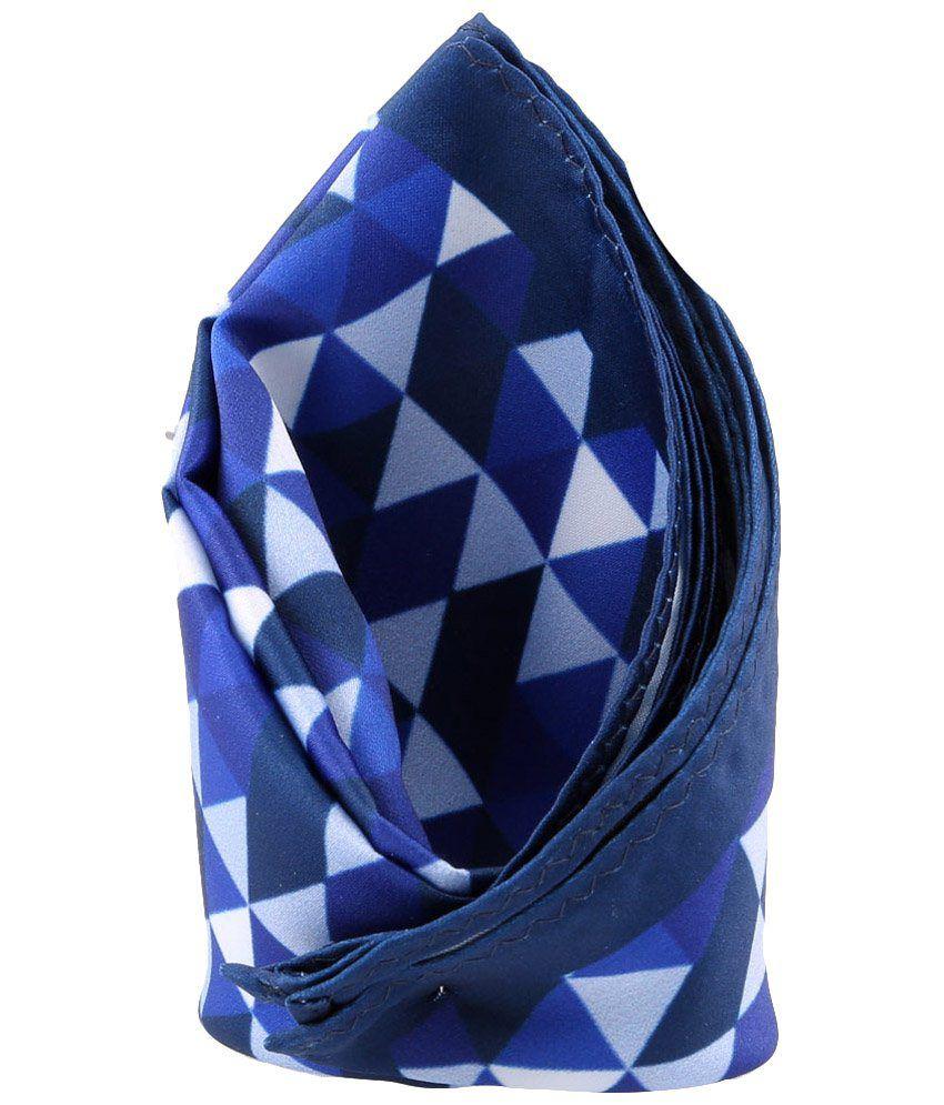 Tossido Navy Blue & Sky Blue Geometrical Pocket Square