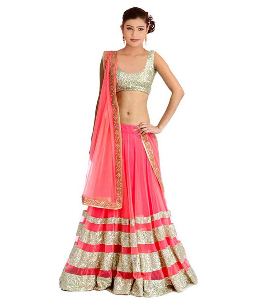 9b38734cd8247 Greenvilla Designs Pink and Beige Net Lehenga - Buy Greenvilla Designs Pink  and Beige Net Lehenga Online at Best Prices in India on Snapdeal