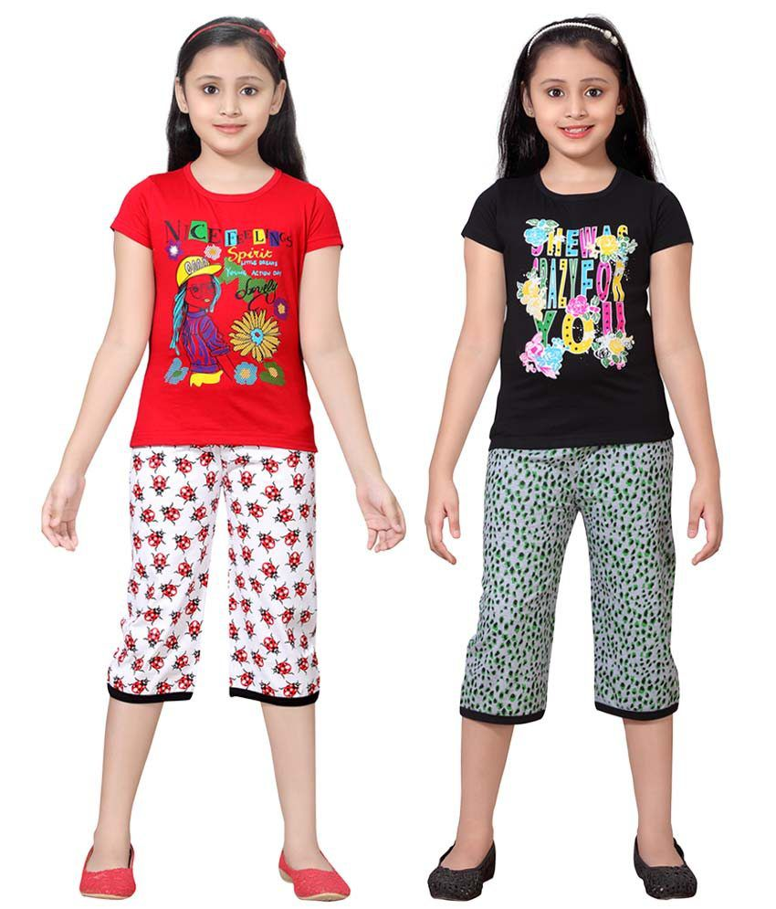 Sinimini Multicolour Cotton Tops And Shorts Pack Of 2