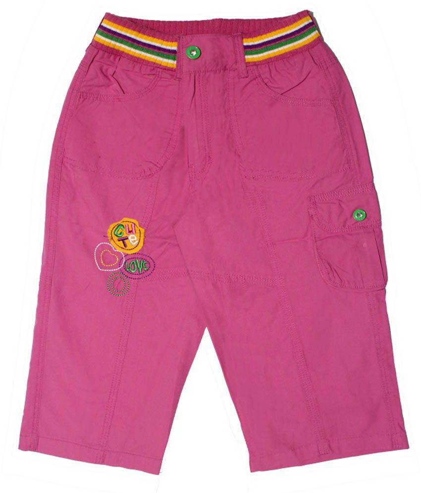 N-XT GIRLS Pink Cotton Capri