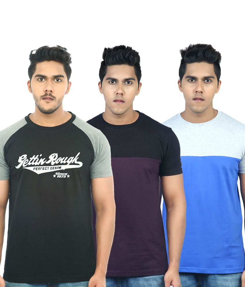 Uk Tribes Multicolour Cotton T Shirt Pack Of 3