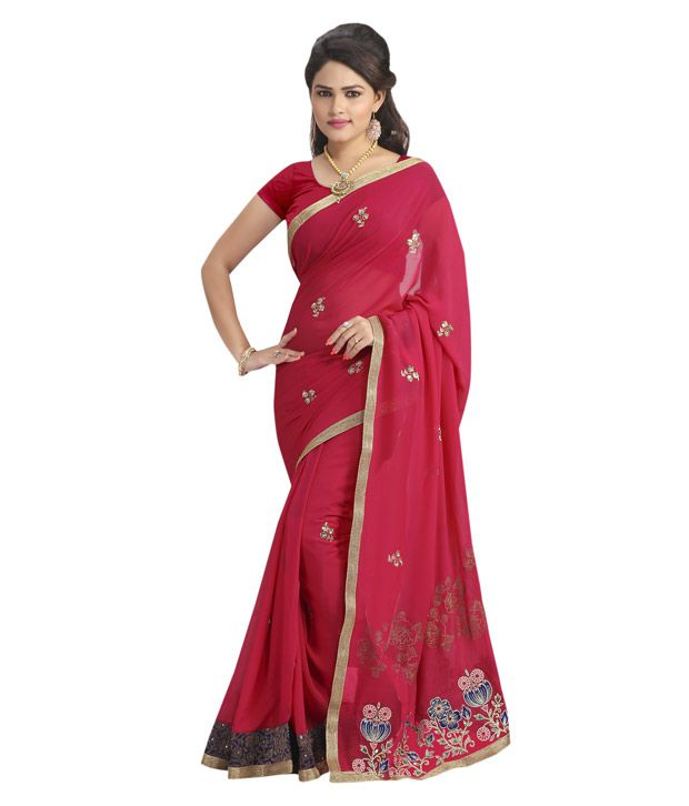 Dolly J By Vishal Pink Georgette Saree