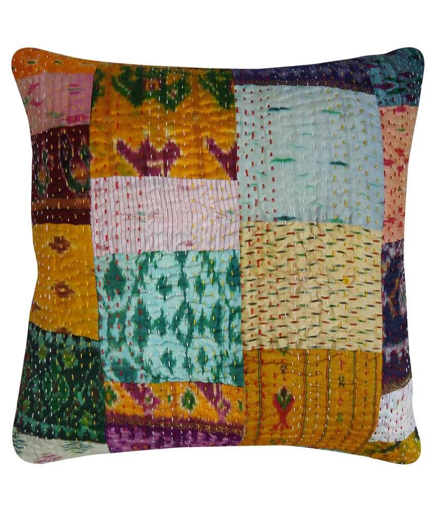 Rajcrafts Jaipuri Silk Patola Print Kantha Work Cushion Cover