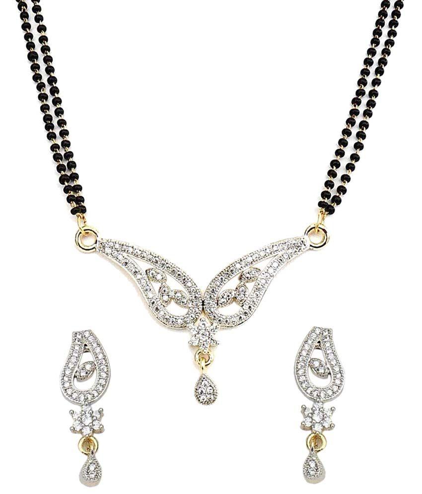 Beadworks American Diamond Daily Wear Mangalsutra Set