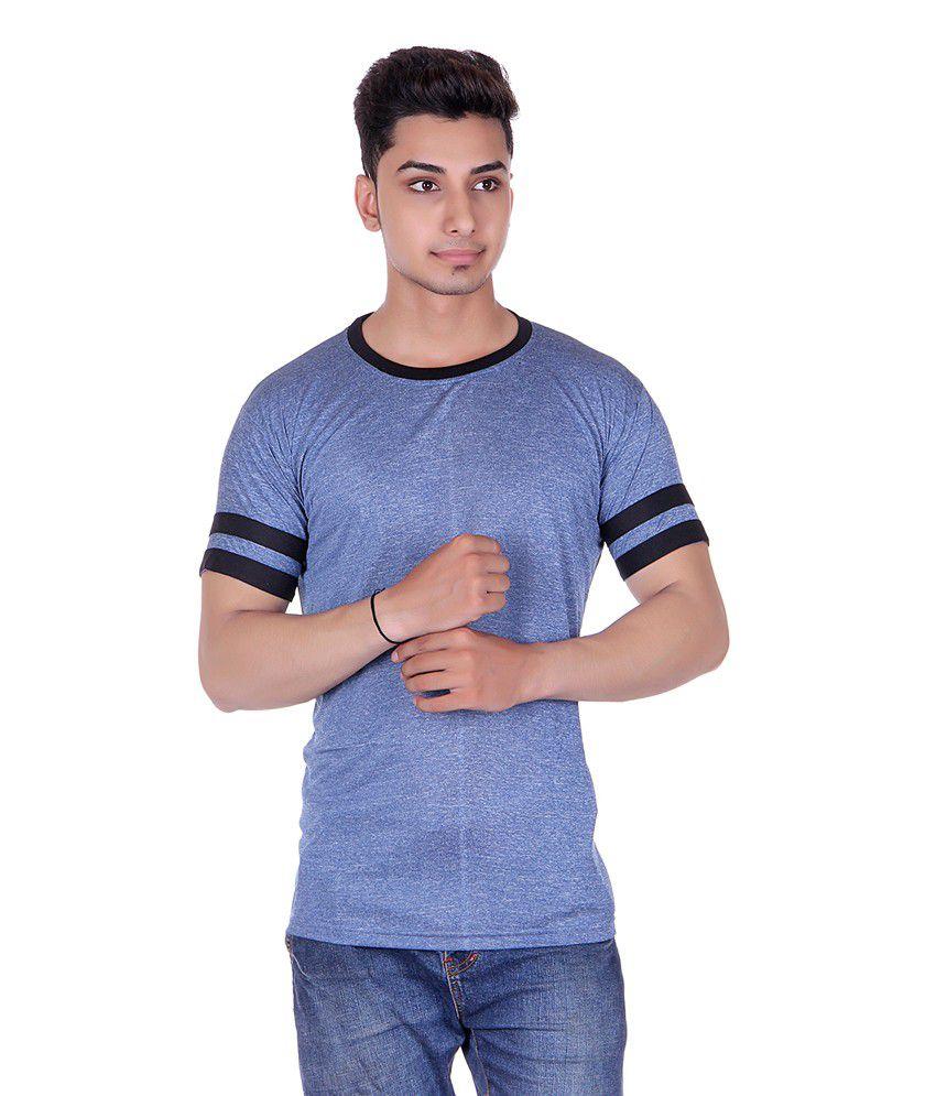 Gag Wear Blue Half Sleeves Basic Wear T-shirt