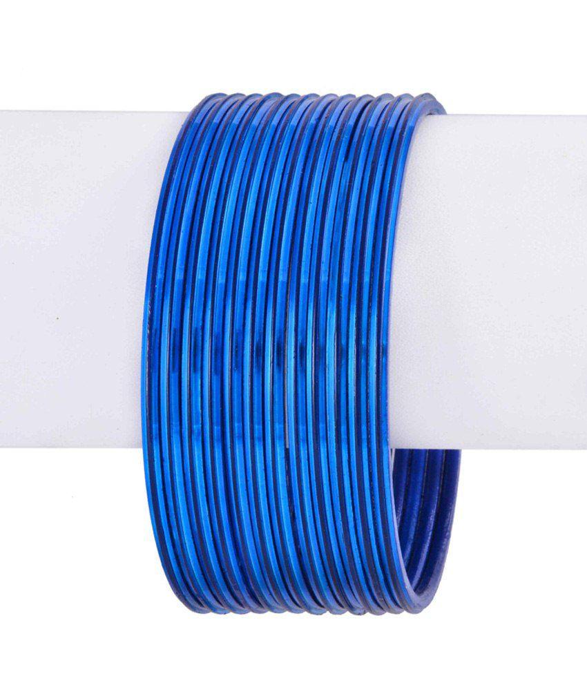 Mrittika Jewels Blue Glass Bangle Set