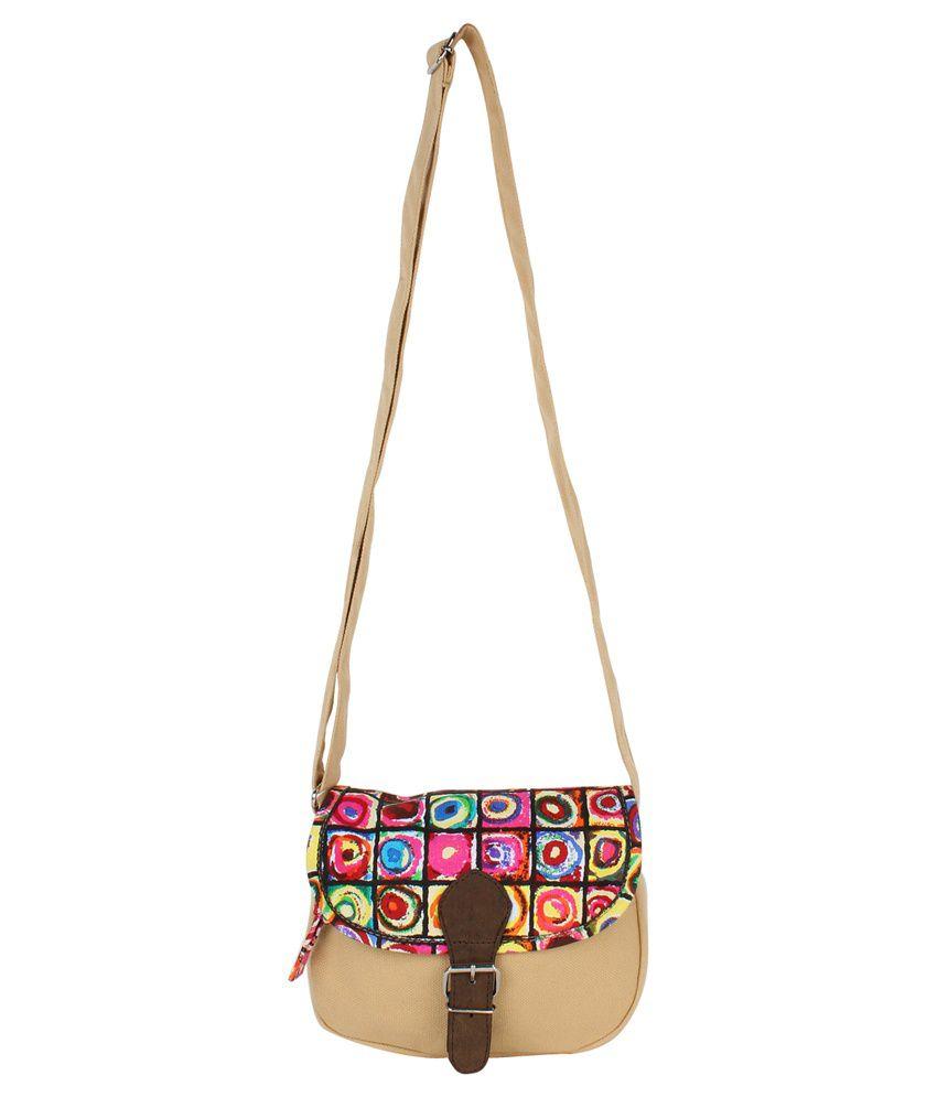 Anekaant Canvas Cloth Sling Bag-Beige - Buy Anekaant Canvas Cloth ...