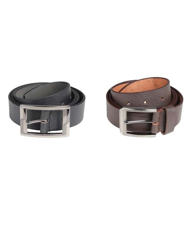 Dswiss Black And Brown Leather Pin Buckle Formal Belt For Men Combo