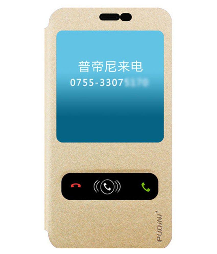 Pudini Flip Cover For Meizu Note 2-Golden
